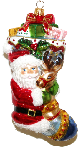 Xmas Stocking: Santa mit Rentier